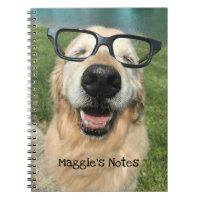 Happy Golden Retriever Dog in Nerd Glasses Notebook