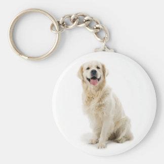Happy Golden Retriever Puppy Keychain