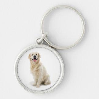 Happy Golden Retriever Puppy Premium Keychain
