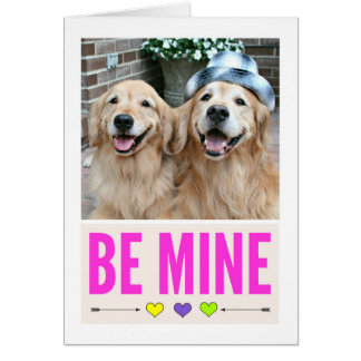 Happy Golden Retrievers Be Mine Valentine's Day Card