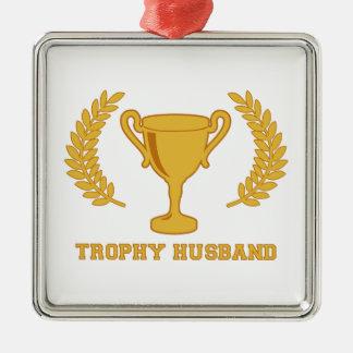 Happy Golden Trophy Husband Metal Ornament