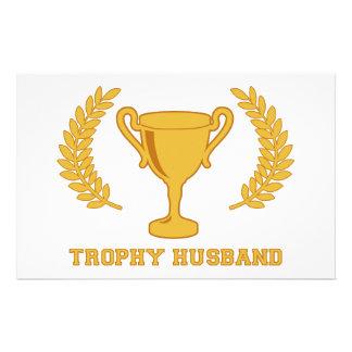 Happy Golden Trophy Husband Custom Stationery