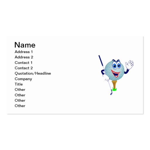 Happy Golf Ball T-shirts and Gifts Business Cards