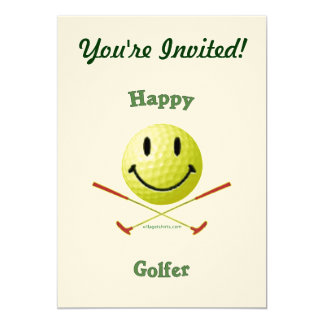 Happy Golfer Smiley Face 5x7 Paper Invitation Card