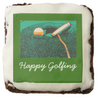 Happy Golfing & Golf ball and putter on green Brownie