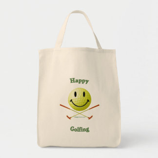 Happy Golfing Smiley Golf Ball Grocery Tote Bag
