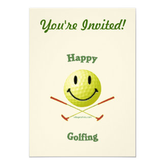 Happy Golfing Smiley Golf Ball 5x7 Paper Invitation Card