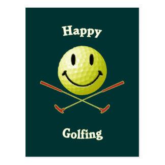 Happy Golfing Smiley Golf Ball Post Card