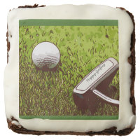 Happy golfing with golf ball and putter on green brownie