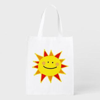 happy good morning summer sun reusable grocery bag