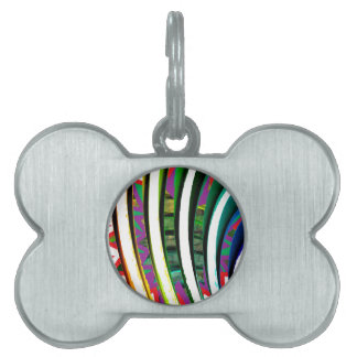 Happy Goodluck Waves n Lines Graphics art gifts Pet ID Tag