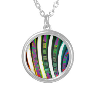 Happy Goodluck Waves n Lines Graphics art gifts Silver Plated Necklace