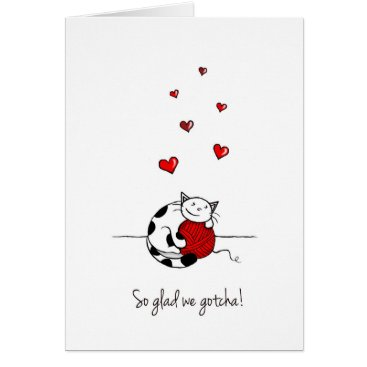 Valentines Themed Happy Gotcha Day - Adoption card with cute cat