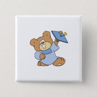 happy graduate teddy bear design pinback button