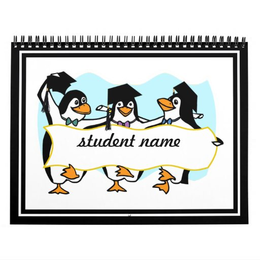 Happy Graduating Dancing Penguins w/Banner Calendar