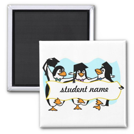 Happy Graduating Dancing Penguins w/Banner Magnet