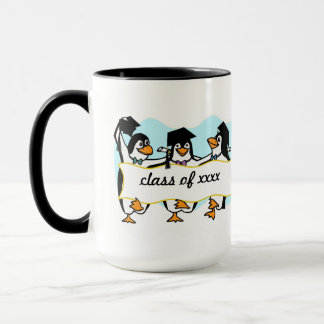 Happy Graduating Dancing Penguins w/Banner Mug