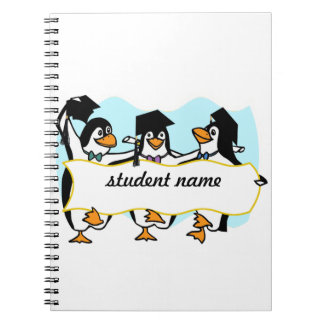Happy Graduating Dancing Penguins w/Banner Note Books