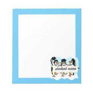 Happy Graduating Dancing Penguins w/Banner Memo Notepads