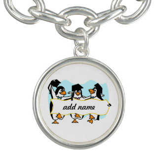 Happy Graduating Dancing Penguins w/Banner Charm Bracelet