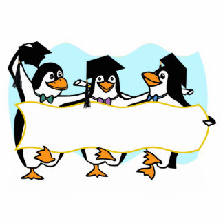 Happy Graduating Dancing Penguins w/Banner Statuette