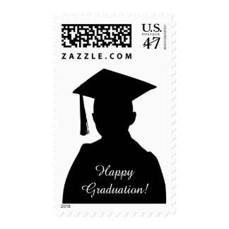 Happy Graduation Male Graduate Black Stamp