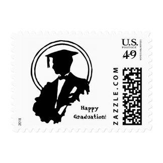 Happy Graduation Male Graduate Student Stamp