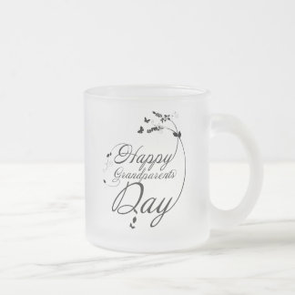 Happy grandparents day frosted glass coffee mug