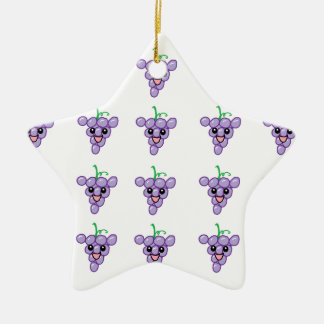 Happy Grapes Double-Sided Star Ceramic Christmas Ornament