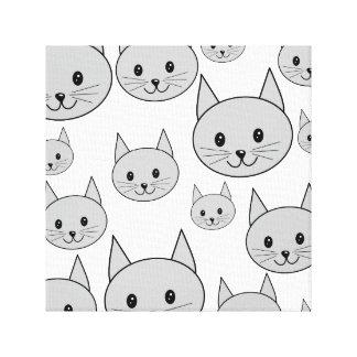 Happy Gray Cats. Canvas Print
