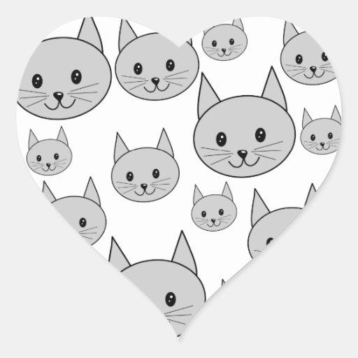 Happy Gray Cats. Heart Sticker