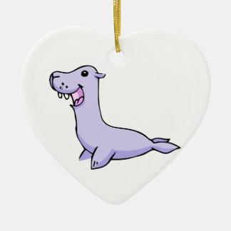 Happy Gray/Grey Cartoon Seal Facing to the Left Ceramic Ornament