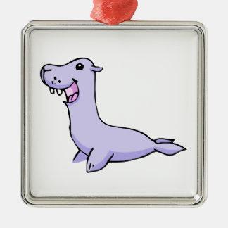 Happy Gray/Grey Cartoon Seal Facing to the Left Metal Ornament