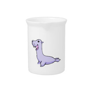 Happy Gray/Grey Cartoon Seal Facing to the Left Drink Pitcher