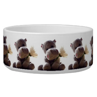 Happy Gray Hippo with Daisy Drawing Photograph Dog Water Bowls