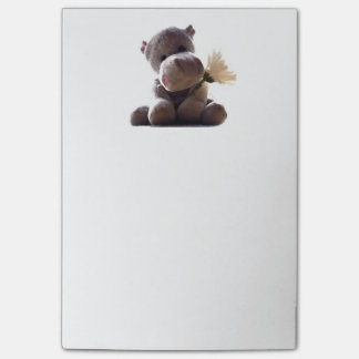 Happy Gray Hippo with Daisy Drawing Photograph Post-it® Notes