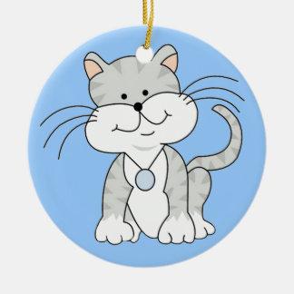 Happy Gray Kitty Ceramic Ornament