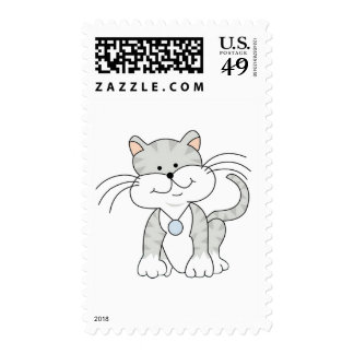 Happy Gray Kitty Postage
