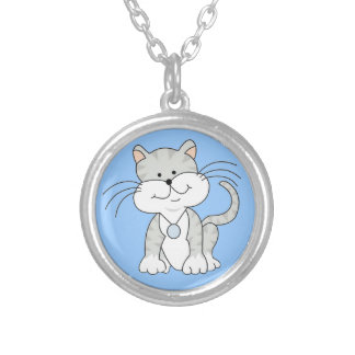 Happy Gray Kitty Silver Plated Necklace