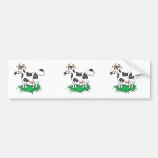 happy grazing cow bumper sticker