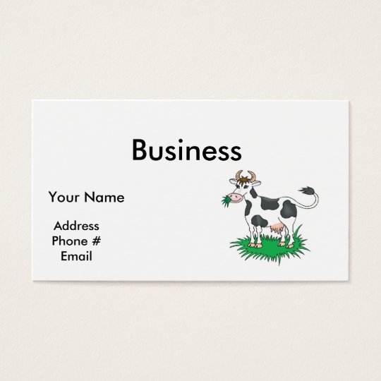 happy grazing cow business card