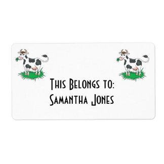 happy grazing cow label
