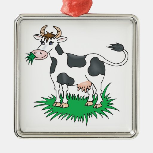 happy grazing cow ornament