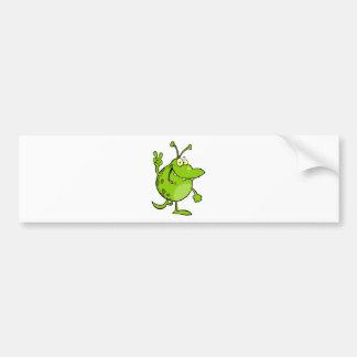 Happy Green Alien Gesturing A Peace Sign Bumper Sticker