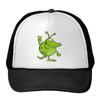 Happy Green Alien Gesturing A Peace Sign Mesh Hat