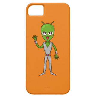 Happy Green Alien with Antennae/Antennas Waving iPhone SE/5/5s Case
