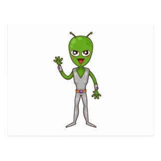 Happy Green Alien with Antennae/Antennas Waving Postcard