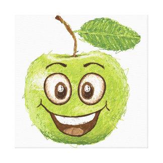 happy green apple gallery wrap canvas
