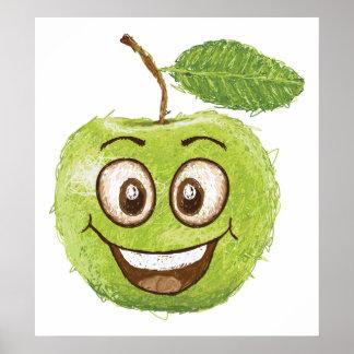 happy green apple print