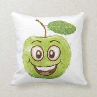happy green apple throw pillow
